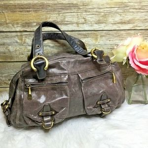 Francesco Biasia Taupe Brown Leather Shoulder Bag